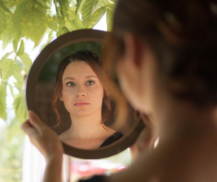 préparatifs mariée miroir rond